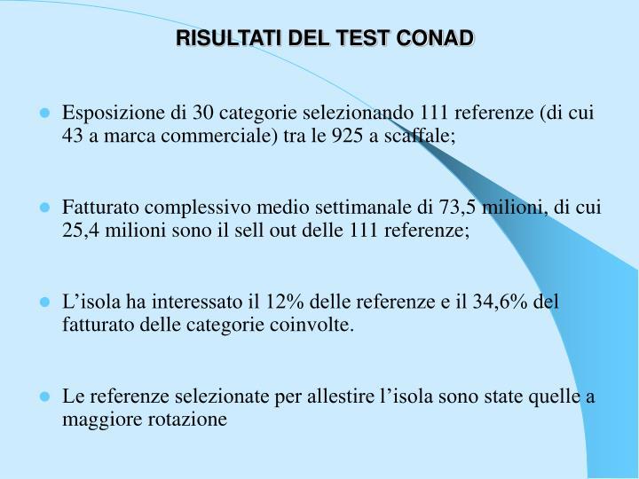 RISULTATI DEL TEST CONAD