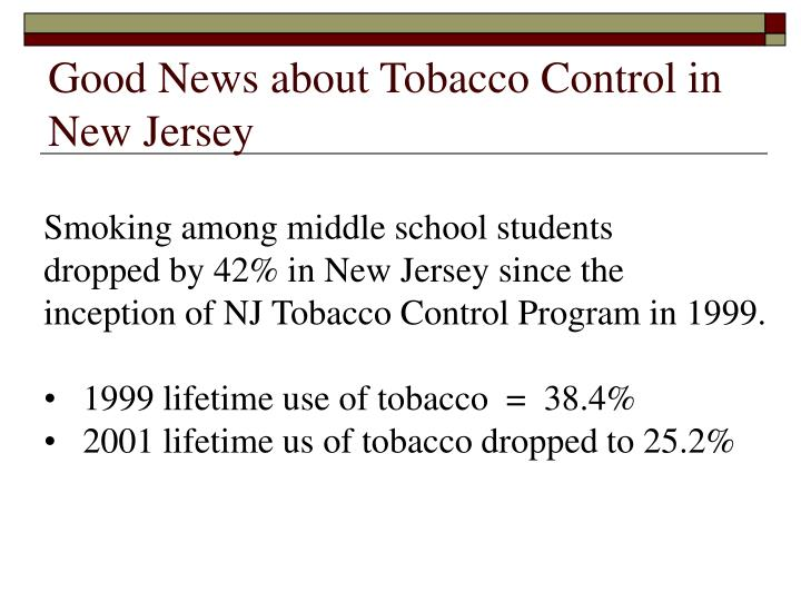 Good News about Tobacco Control in New Jersey