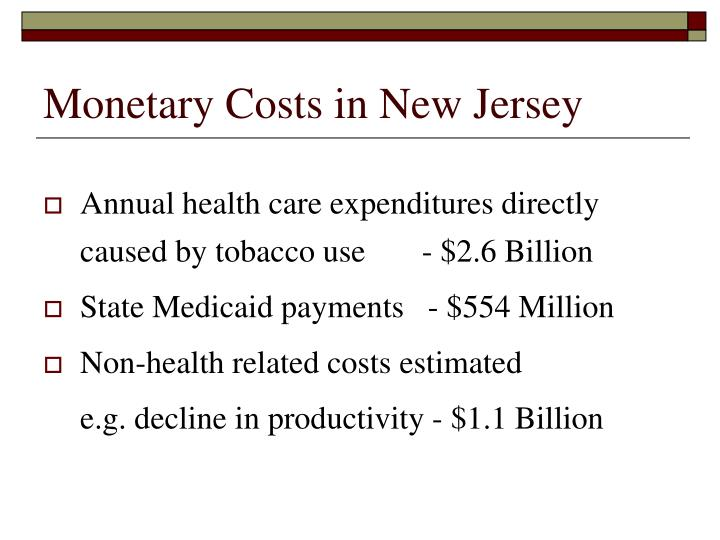 Monetary Costs in New Jersey
