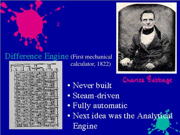 (First mechanical        calculator, 1822)