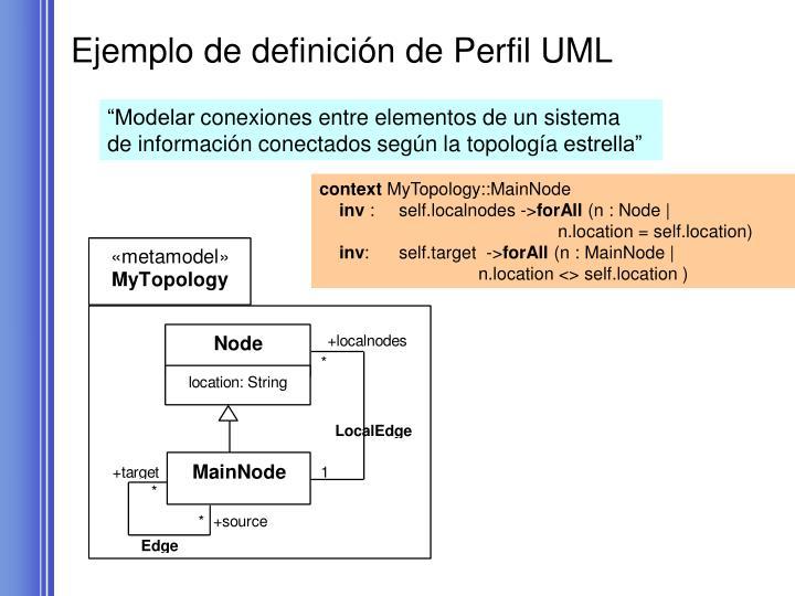 Ejemplo de definición de Perfil UML