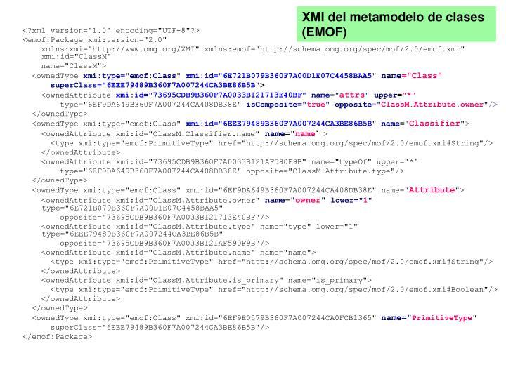 XMI del metamodelo de clases (EMOF)