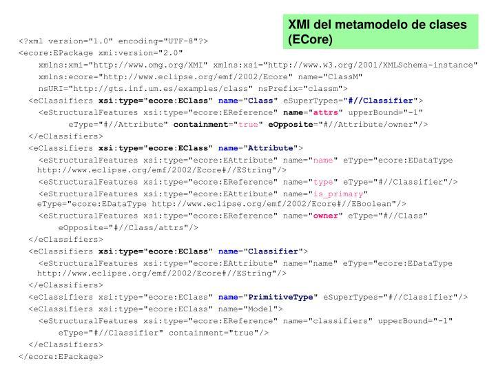 XMI del metamodelo de clases (ECore)