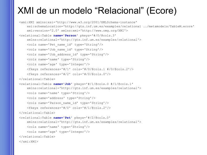 """XMI de un modelo """"Relacional"""" (Ecore)"""