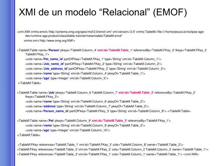 """XMI de un modelo """"Relacional"""" (EMOF)"""
