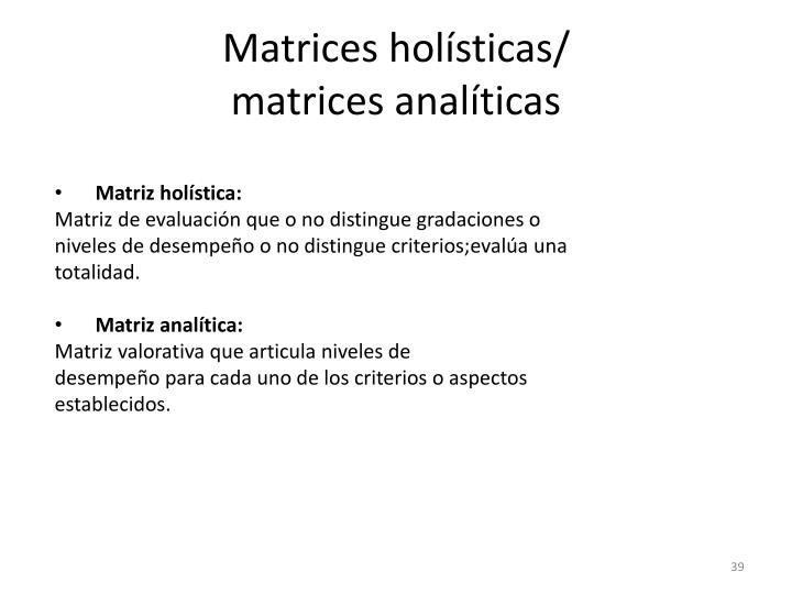 Matrices holísticas/