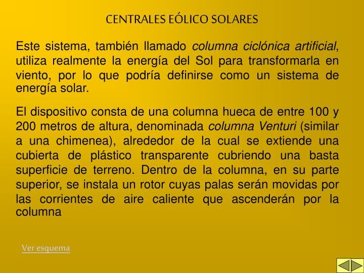 CENTRALES EÓLICO SOLARES