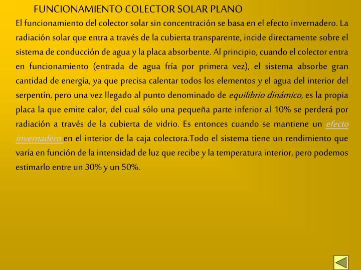FUNCIONAMIENTO COLECTOR SOLAR PLANO
