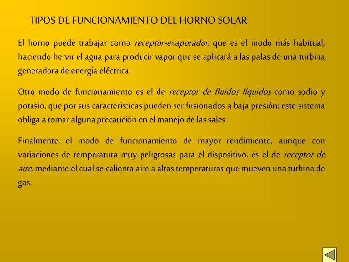 TIPOS DE FUNCIONAMIENTO DEL HORNO SOLAR