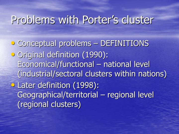 Problems with Porter's cluster
