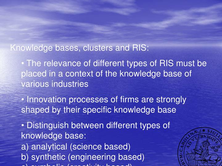 Knowledge bases, clusters and RIS: