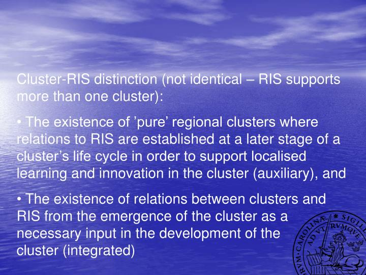 Cluster-RIS distinction (not identical – RIS supports more than one cluster):