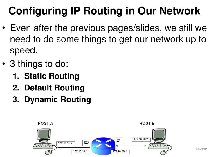 Configuring IP Routing in Our Network