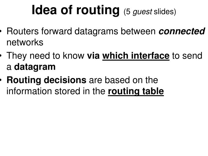 Idea of routing