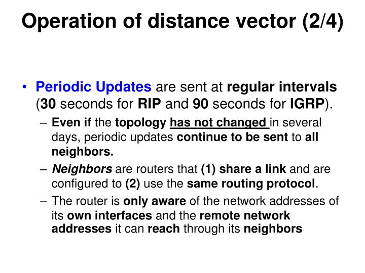 Operation of distance vector (2/4)