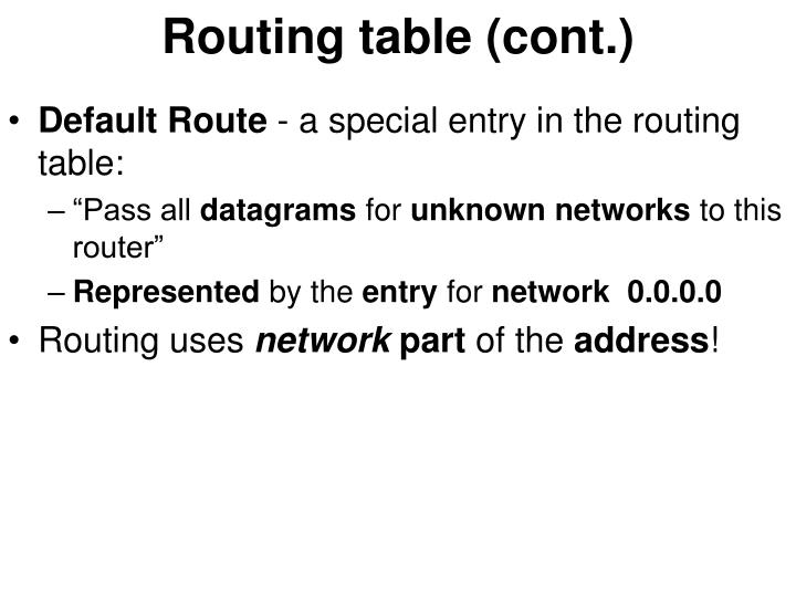 Routing table (cont.)