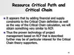 resource critical path and critical chain