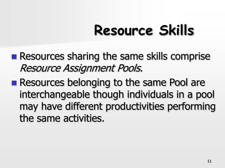 Resource Skills