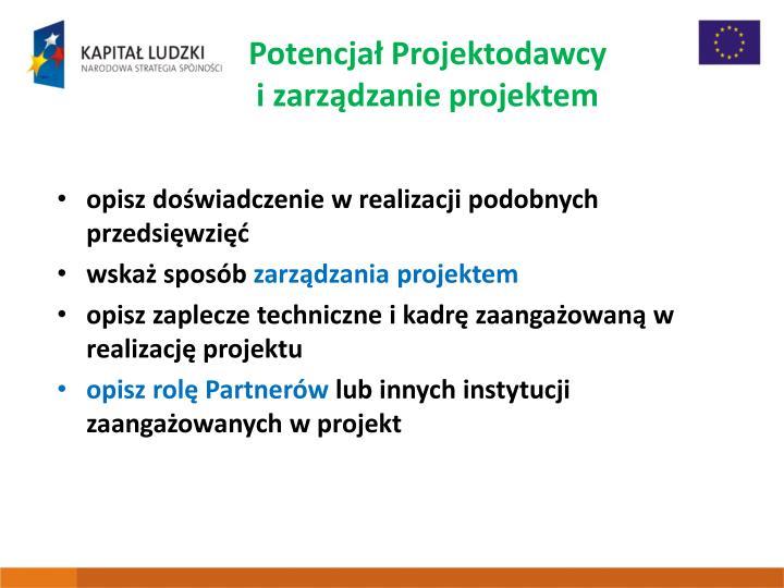 Potencjał Projektodawcy izarządzanie projektem