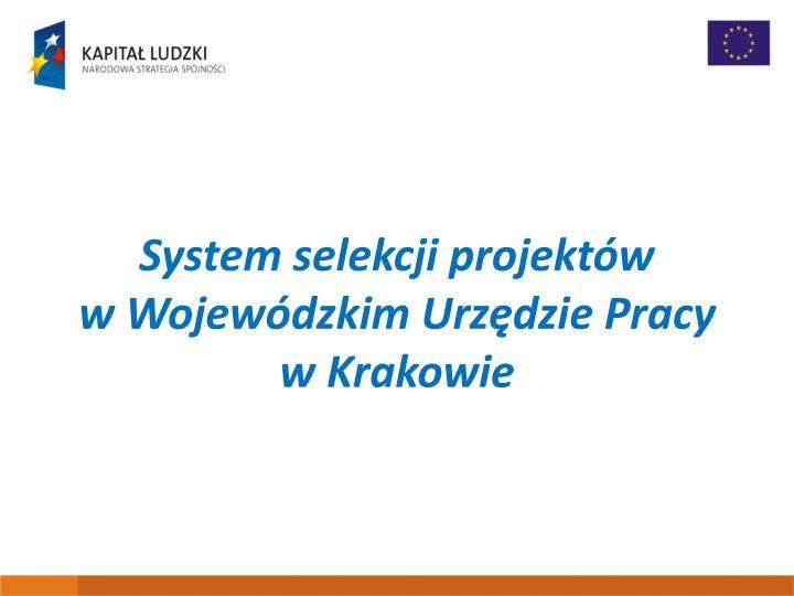 System selekcji projektów wWojewódzkim Urzędzie Pracy