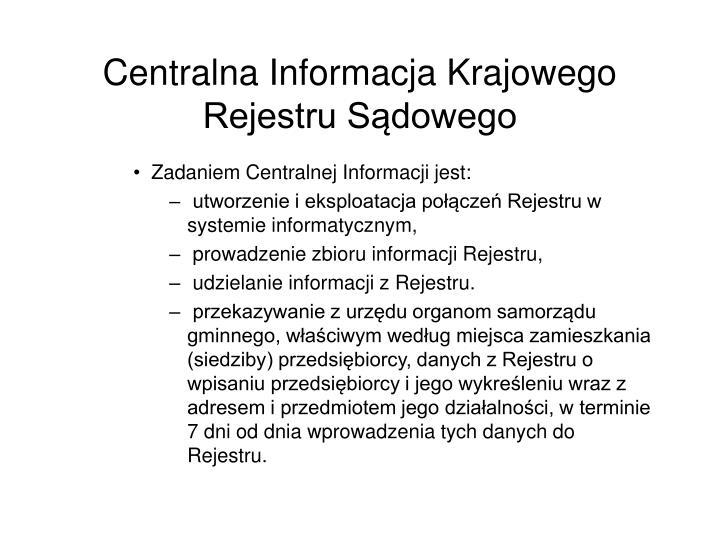 Centralna Informacja Krajowego Rejestru Sdowego