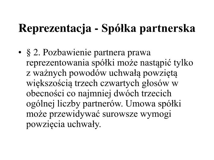 Reprezentacja - Spka partnerska