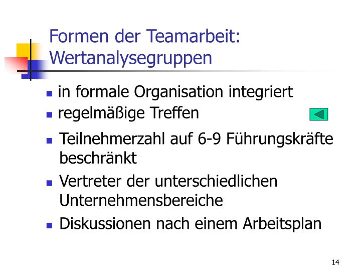 Formen der Teamarbeit: