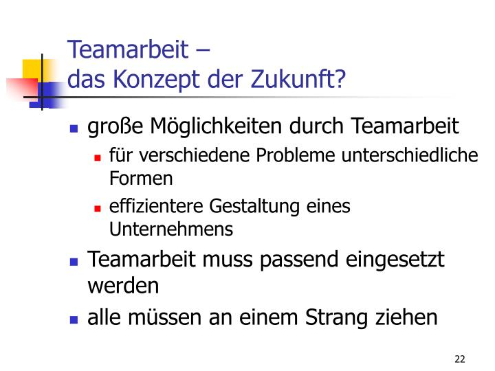 Teamarbeit –