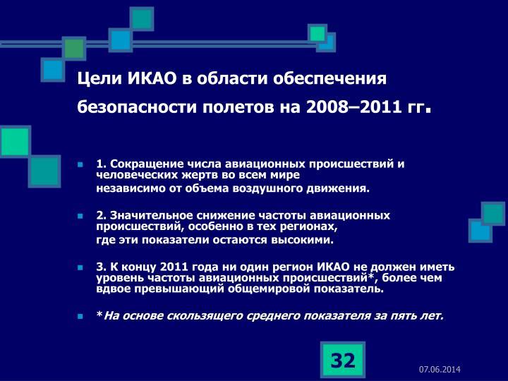 Цели ИКАО в области обеспечения безопасности полетов на 2008–2011 гг