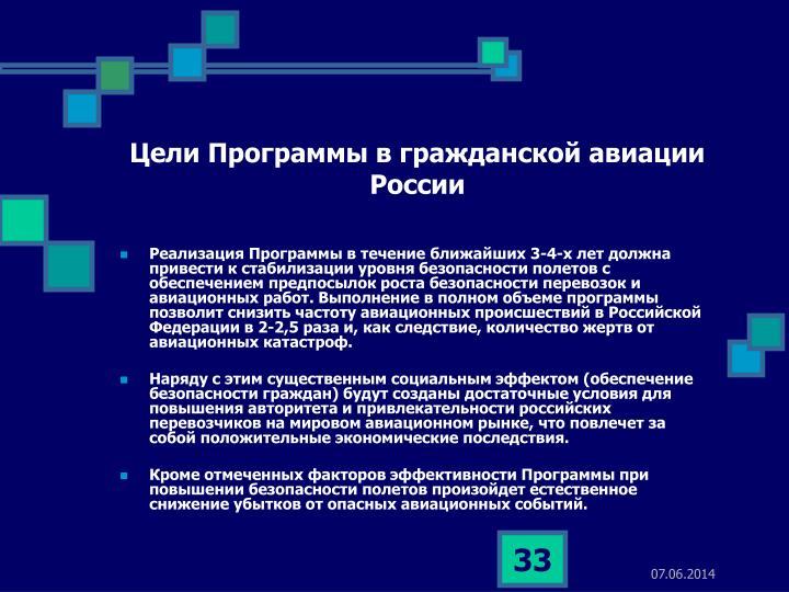 Цели Программы в гражданской авиации России