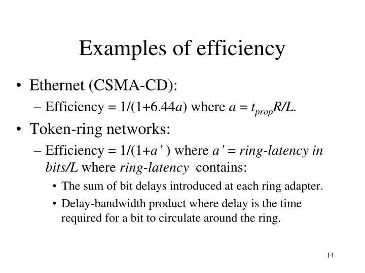 Examples of efficiency