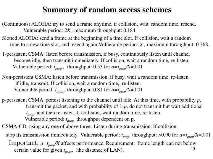 Summary of random access schemes