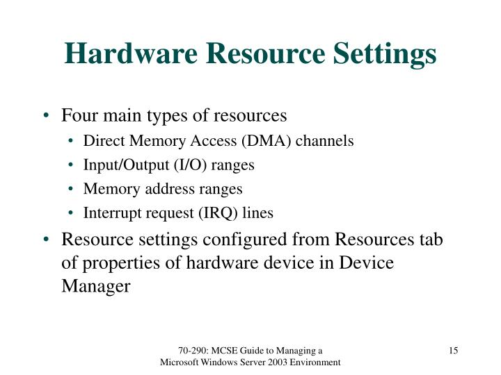 Hardware Resource Settings