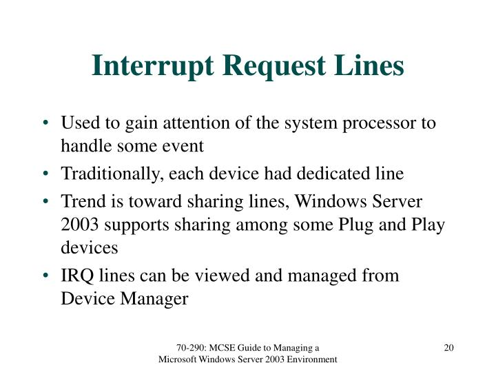 Interrupt Request Lines