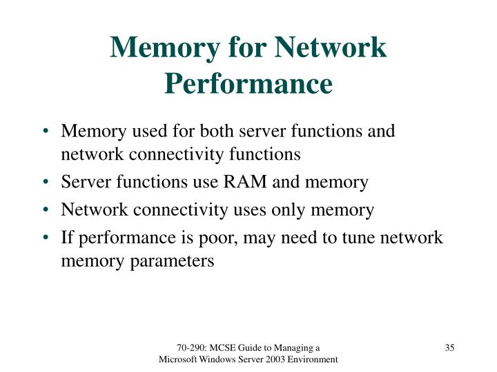 Memory for Network Performance