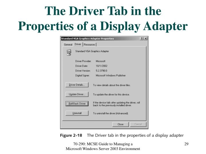 The Driver Tab in the Properties of a Display Adapter
