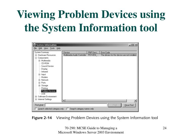 Viewing Problem Devices using the System Information tool