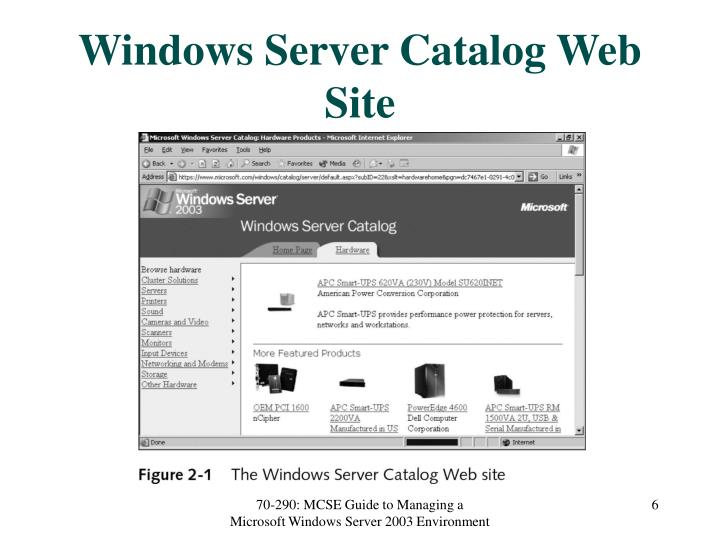 Windows Server Catalog Web Site