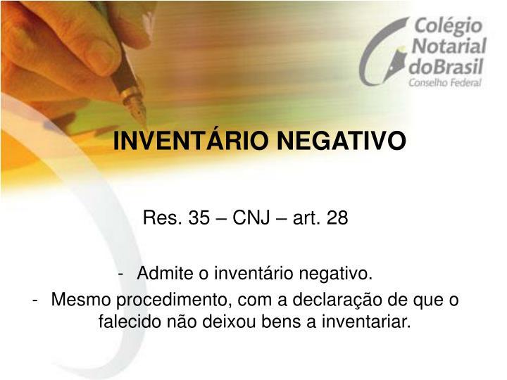 INVENTÁRIO NEGATIVO