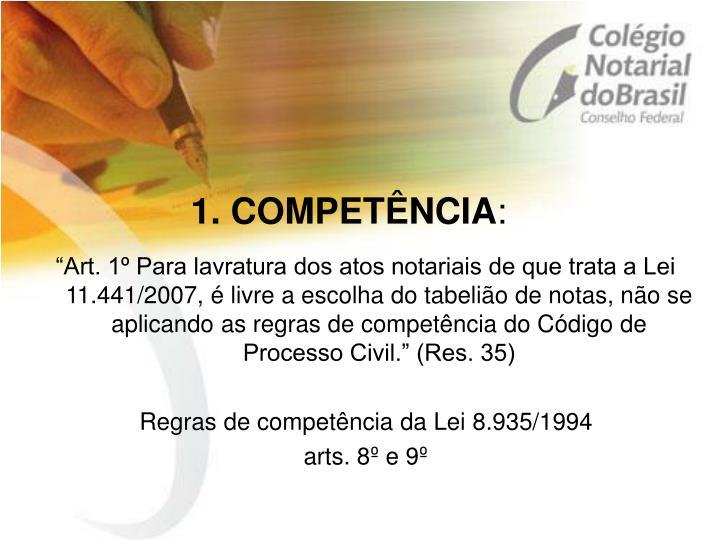 1. COMPETÊNCIA
