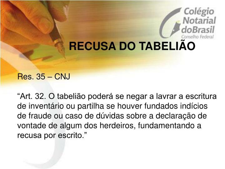 RECUSA DO TABELIÃO