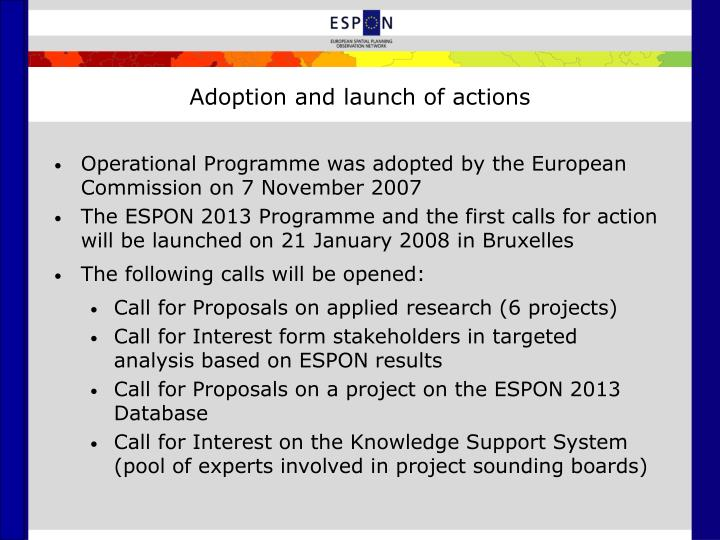 Adoption and launch of actions