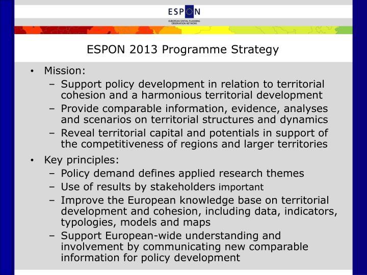 ESPON 2013 Programme Strategy