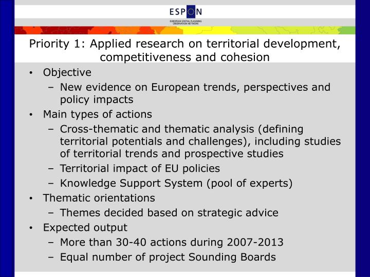 Priority 1: Applied research on territorial development, competitiveness and cohesion