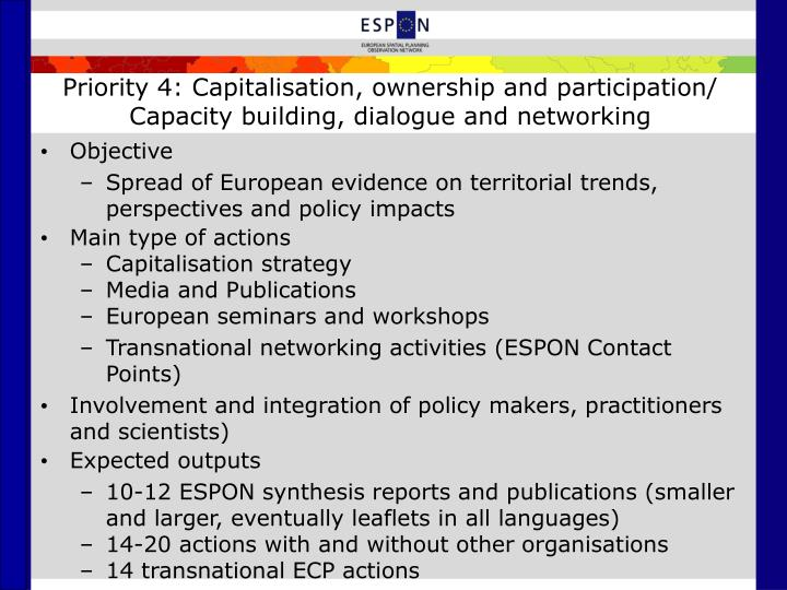 Priority 4: Capitalisation, ownership and participation/
