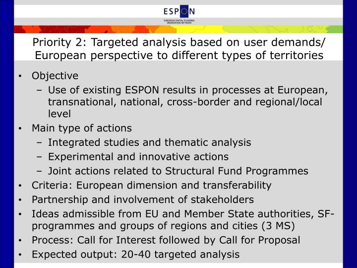 Priority 2: Targeted analysis based on user demands/ European perspective to different types of territories