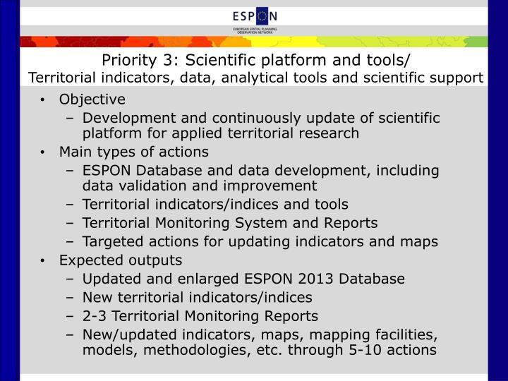 Priority 3: Scientific platform and tools/
