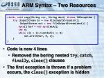 arm syntax two resources