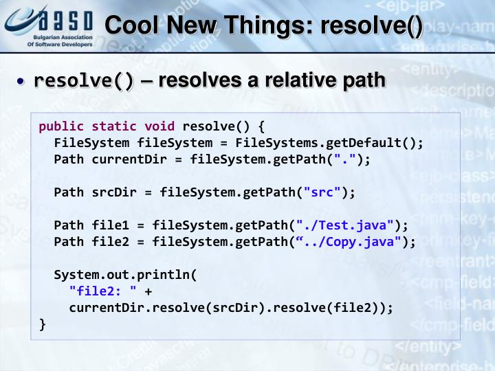 Cool New Things: resolve()