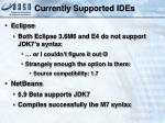 currently supported ides
